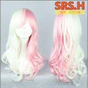 【COSPLAY WIG】ダンガンロンパ 2  モノミ擬人化 ピンク・ホワイト 巻き髪    コスプレウイッグ 高温耐熱 コスチューム ネット付き srs-h
