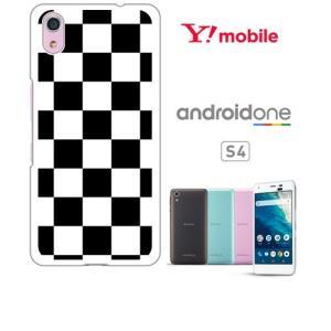 Android One S4/DIGNO J ホワイトハードケース ジャケット 市松-ブラック 市松 ブロックチェック|ss-link
