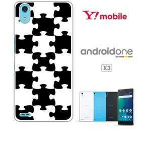 Android One X3 ホワイトハードケース カバー ジャケット パズル チェック a007-sslink ss-link