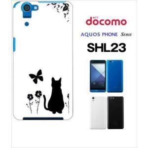 SHL23 AQUOS PHONE SERIE au ハードケース カバー ジャケット フラワー 花柄 アニマル 猫 ネコ 蝶 a026 -sslink|ss-link