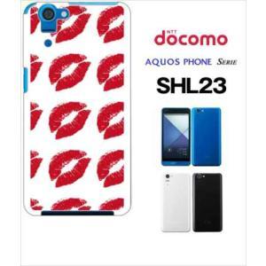 SHL23 AQUOS PHONE SERIE au ハードケース カバー ジャケット キスマーク 唇 a028-sslink|ss-link
