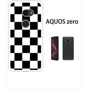 AQUOS zero アクオスゼロ ホワイトハードケース ジャケット 市松-ブラック 市松 ブロックチェック ss-link