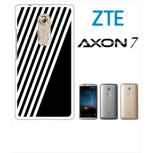 AXON 7 ZTE ホワイトハードケース カバー ジャケット ストライプ a002黒-sslink  ss-link