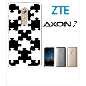 AXON 7 ZTE ホワイトハードケース カバー ジャケット パズル チェック a007-sslink ss-link