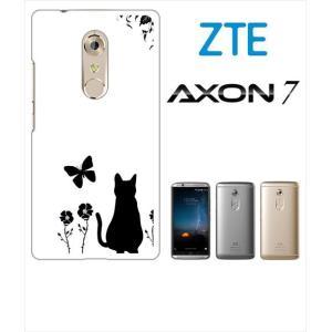 AXON 7 ZTE ホワイトハードケース カバー ジャケット フラワー 花柄 アニマル 猫 ネコ 蝶 a026 -sslink ss-link