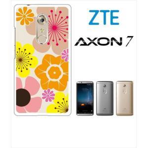 AXON 7 ZTE ホワイトハードケース カバー ジャケット 花柄 キャロライン風 マリメッコ風 b003-sslink  ss-link