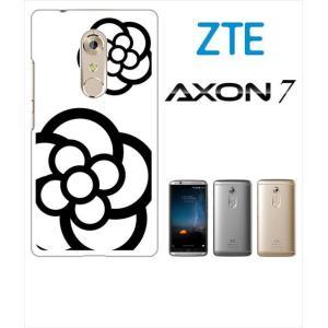 AXON 7 ZTE ホワイトハードケース ジャケット カメリア-A 花柄 カメリア ss-link