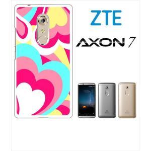 AXON 7 ZTE ホワイトハードケース ジャケット プッチ-A 幾何学 カラフル ハート ss-link