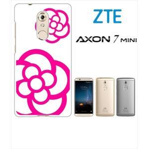 AXON 7 mini ZTE ホワイトハードケース ジャケット カメリア-B 花柄 カメリア|ss-link