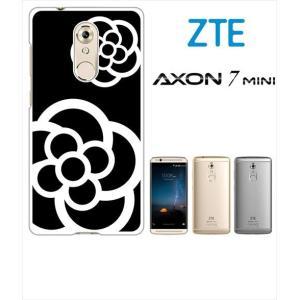 AXON 7 mini ZTE ホワイトハードケース ジャケット カメリア-J 花柄 カメリア|ss-link
