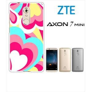 AXON 7 mini ZTE ホワイトハードケース ジャケット プッチ-A 幾何学 カラフル ハート|ss-link
