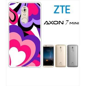 AXON 7 mini ZTE ホワイトハードケース ジャケット プッチ-C 幾何学 カラフル ハート|ss-link