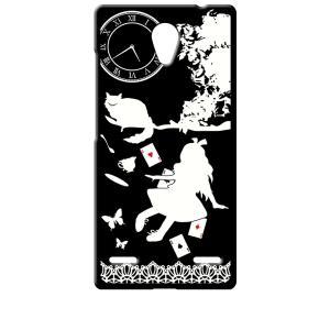 BLADE E02/Libero 2 ZTE ブラック ハードケース Alice in wonderland アリス 猫 トランプ|ss-link