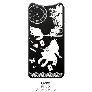 Find X OPPO findx ブラック ハードケース Alice in wonderland アリス 猫 トランプ|ss-link