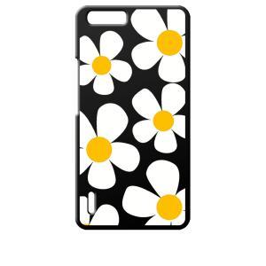 honor6plus オーナー 楽天モバイル ブラック ハードケース デイジー 花柄 レトロ フラワー|ss-link