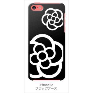 iPhone5c iPhone 5c au softbank docom ブラック ハードケース カメリア 花柄 カバー ジャケット スマートフォン|ss-link