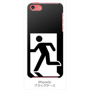 iPhone5c iPhone 5c au softbank docom ブラック ハードケース 非常口 カバー ジャケット スマートフォン|ss-link