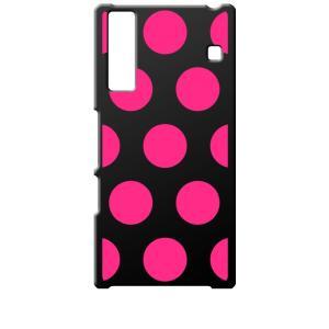 KYV37 Qua phone キュアフォン au ブラック ハードケース 大 ドット柄 水玉 ピンク|ss-link