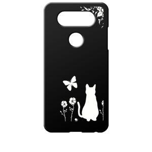 L-01J V20 PRO docomo/LGV34 isai Beat au ブラック ハードケース 猫 ネコ 花柄 a026|ss-link