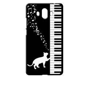 Mate 10 HUAWEI ブラック ハードケース ピアノと白猫 ネコ 音符 ミュージック キラキラ ss-link