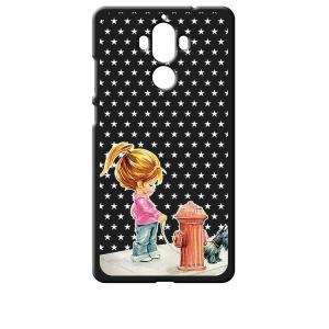 Mate 9 HUAWEI 楽天モバイル ブラック ハードケース 犬と女の子 レトロ 星 スター ドット|ss-link