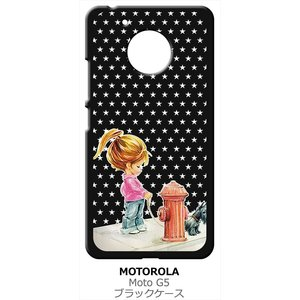 Moto G5 モトローラ ブラック ハードケース 犬と女の子 レトロ 星 スター ドット|ss-link