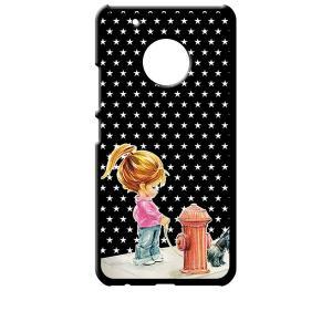 Moto G5 Plus モトローラ ブラック ハードケース 犬と女の子 レトロ 星 スター ドット|ss-link
