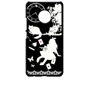 Moto G5 Plus モトローラ ブラック ハードケース Alice in wonderland アリス 猫 トランプ|ss-link