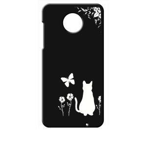 Moto Z2 Play モトローラ ブラック ハードケース 猫 ネコ 花柄 a026|ss-link