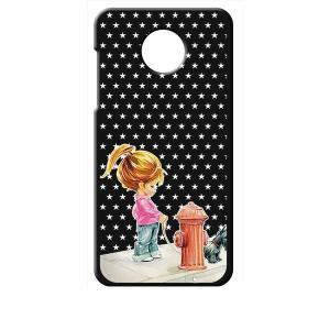 Moto Z2 Play モトローラ ブラック ハードケース 犬と女の子 レトロ 星 スター ドット|ss-link