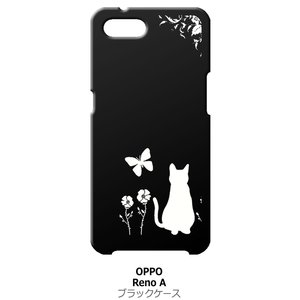 Reno A OPPO ブラック ハードケース 猫 ネコ 花柄 a026|ss-link