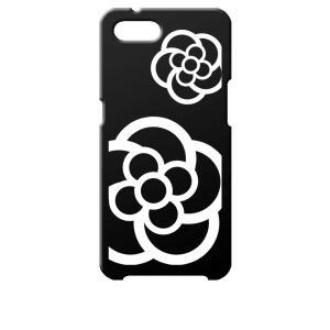 Reno A OPPO ブラック ハードケース カメリア 花柄|ss-link