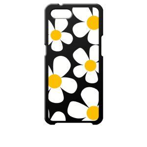 Reno A OPPO ブラック ハードケース デイジー 花柄 レトロ フラワー|ss-link
