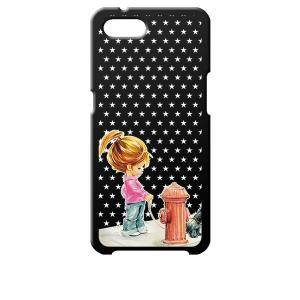Reno A OPPO ブラック ハードケース 犬と女の子 レトロ 星 スター ドット|ss-link