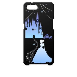 Reno A OPPO ブラック ハードケース シンデレラ(ブルー) キラキラ プリンセス|ss-link