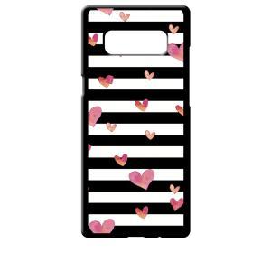SC-01K/SCV37 Galaxy Note8 ギャラクシー ブラック ハードケース ハート&ボーダー|ss-link