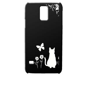 SC-04F/SCL23 GALAXY S5 docomo au ブラック ハードケース 猫 ネコ 花柄 a026 カバー ジャケット スマートフォン|ss-link
