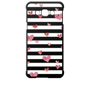 SCV32 Galaxy A8 ギャラクシー エーエイト au ブラック ハードケース ハート&ボーダー|ss-link