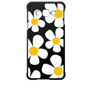 SCV32 Galaxy A8 ギャラクシー エーエイト au ブラック ハードケース デイジー 花柄 レトロ フラワー|ss-link
