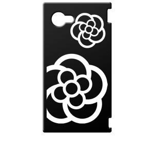 SH-02H AQUOS Compact アクオス コンパクト ブラック ハードケース カメリア 花柄|ss-link
