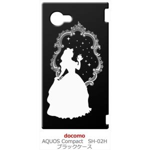 SH-02H AQUOS Compact アクオス コンパクト ブラック ハードケース 白雪姫 リンゴ キラキラ プリンセス|ss-link