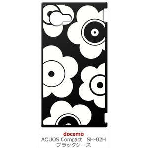 SH-02H AQUOS Compact アクオス コンパクト ブラック ハードケース t026 花柄 マリメッコ風 レトロ フラワー|ss-link