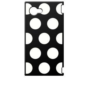 SH-02H AQUOS Compact アクオス コンパクト ブラック ハードケース 大 ドット柄 水玉 ホワイト|ss-link