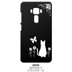 ZenFone3 ZE520KL asus ブラック ハードケース 猫 ネコ 花柄 a026|ss-link