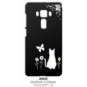 ZenFone3 Deluxe ZS570KL 5.7インチ asus ブラック ハードケース 猫 ネコ 花柄 a026|ss-link