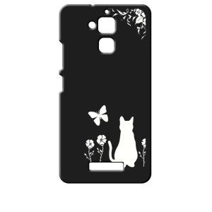 ZenFone3 Max 5.2インチ ZC520TL ASUS エイスース ブラック ハードケース 猫 ネコ 花柄 a026 ss-link