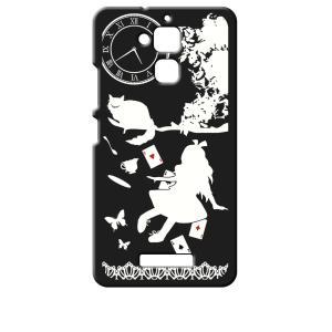 ZenFone3 Max 5.2インチ ZC520TL ASUS エイスース ブラック ハードケース Alice in wonderland アリス 猫 トランプ ss-link