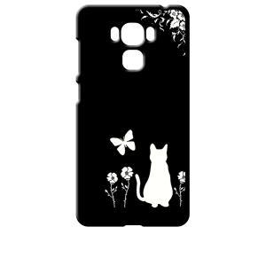 ZenFone3 Max 5.5インチ ZC553KL ブラック ハードケース 猫 ネコ 花柄 a026|ss-link