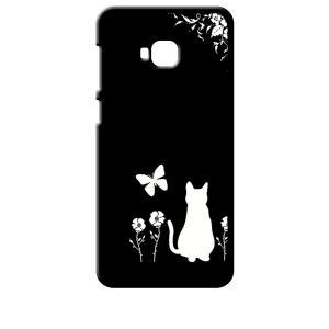 ZenFone4 Selfie Pro ZD552KL ASUS ブラック ハードケース 猫 ネコ 花柄 a026|ss-link