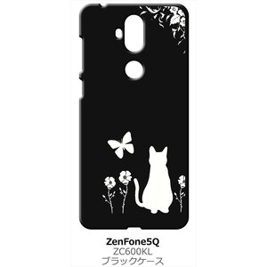 ZenFone5Q ZC600KL ASUS ブラック ハードケース 猫 ネコ 花柄 a026|ss-link